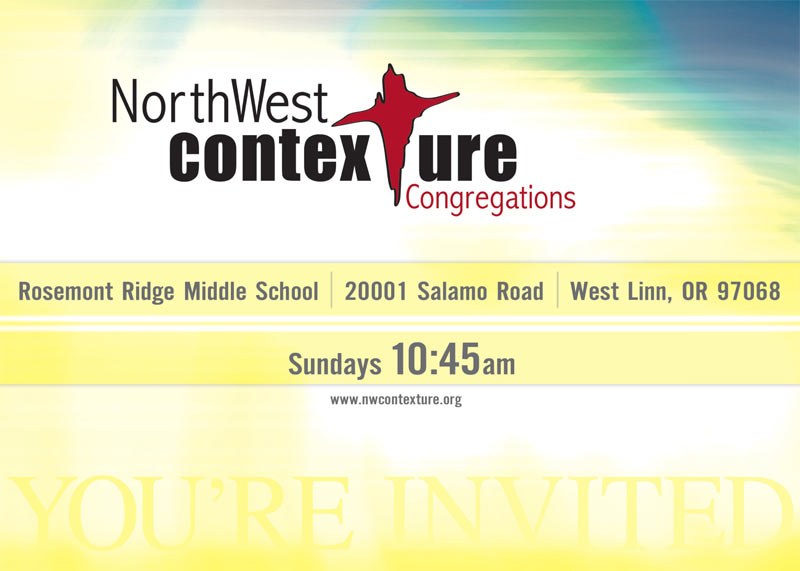 Front of card used to invite the community to NorthWest Contexture
