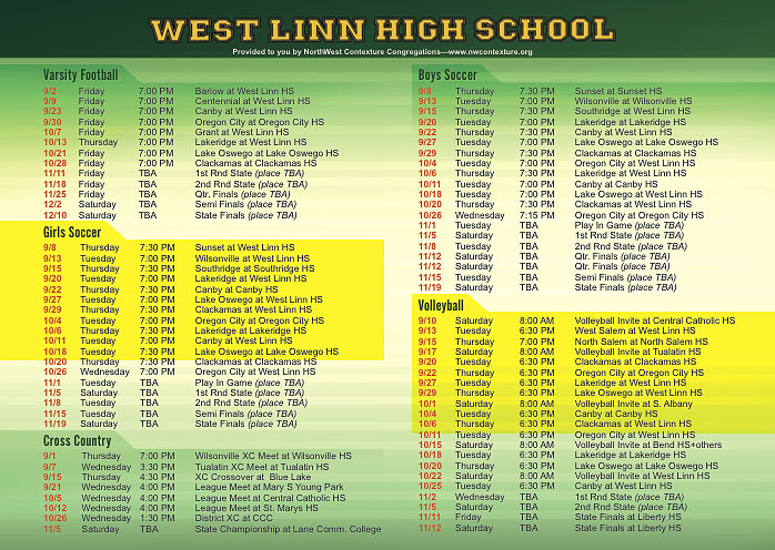 High School Football schedule on back of NorthWest Contexture card